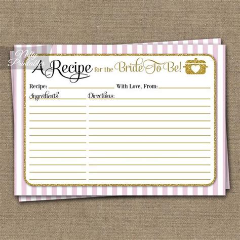 bridal shower recipe cards pink gold instant