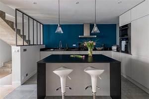 maison esprit atelier cuisine sur mesure en laque mate With charming couleur gris anthracite peinture 14 decoration cuisine meuble gris