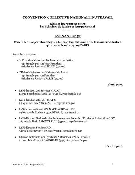 Chambre Nationale Huissier - idcc 1921 avenant n 52 du 24 09 2015 commission des litiges
