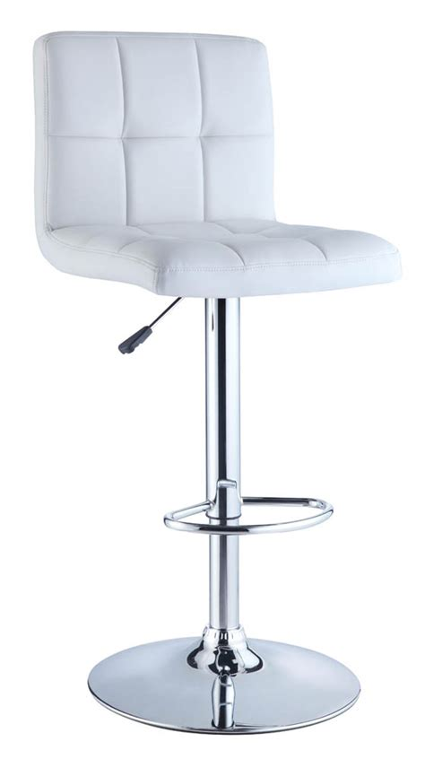 adjustable height bar stool white quilted faux leather