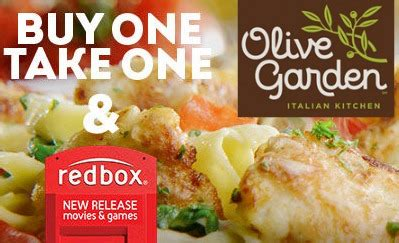 buy one take one olive garden olive garden buy one take one deal and free redbox