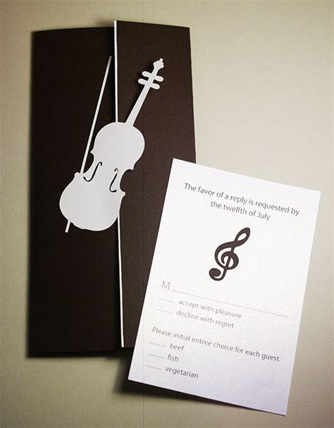 wedding invitation set violin  treble clef cutout