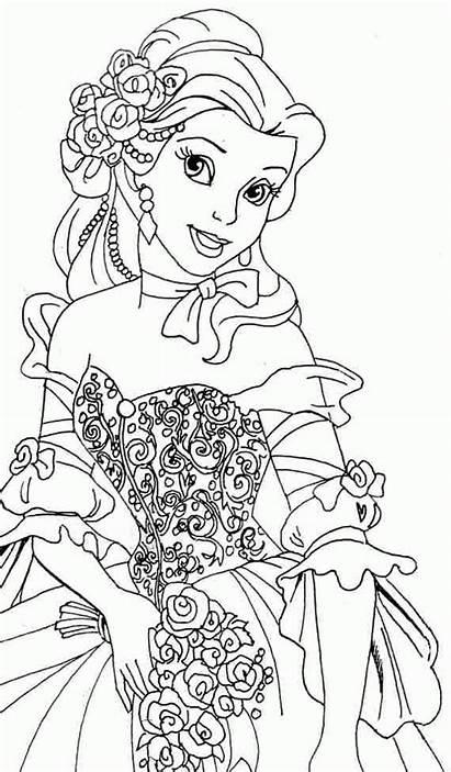 Tranh Coloring Belle Princess Disney Mau Chua