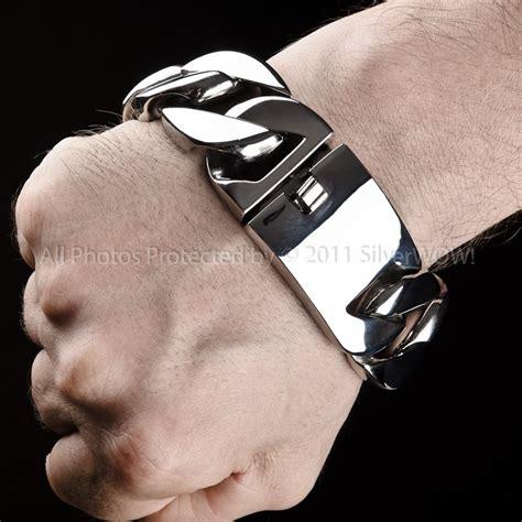 mens stainless steel bracelets  heavy mm wide