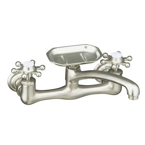 antique kitchen faucet kohler antique 8 in wall mount 2 handle low arc kitchen