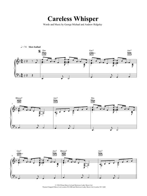 For interactive music score click here. Careless Whisper Sheet Music   George Michael   Piano, Vocal & Guitar (Right-Hand Melody)