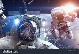 International Space Station Astronauts Over Planet Stock ...