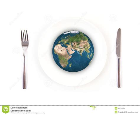 global cuisine international food fork plate knife isolated royalty