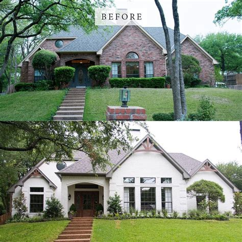 """Painting exterior brick before and after grupomatices com co. Fixer Upper on Instagram: """"Before and after - From 80's to Elegant. #FixerUpper #HGTV ..."""