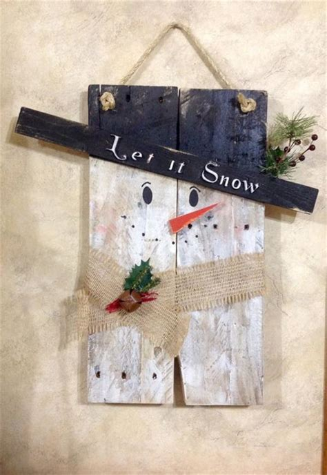 diy reclaimed wooden pallet snowman ideas pallets designs