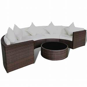Rattan Lounge Rund : vidaxl brown garden half round poly rattan sofa set with table lounge set ~ Indierocktalk.com Haus und Dekorationen