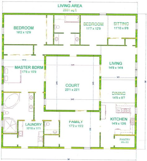 center courtyard house plans   square feet