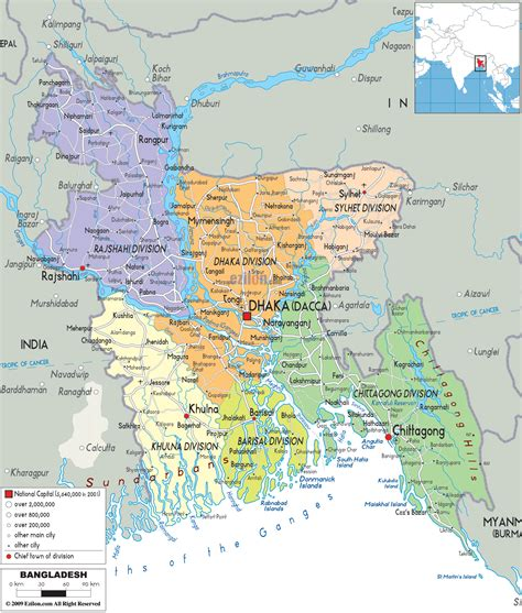political map  bangladesh ezilon maps