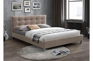 Tissu Pour Tete De Lit : lit beige 160 en tissu avec t te de lit capitonn e eva lit design pas cher ~ Preciouscoupons.com Idées de Décoration