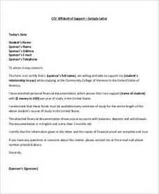 affidavit of support sample letter