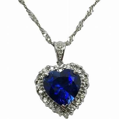 Sapphire Heart Diamond Pendant Necklace Necklaces Jewelry