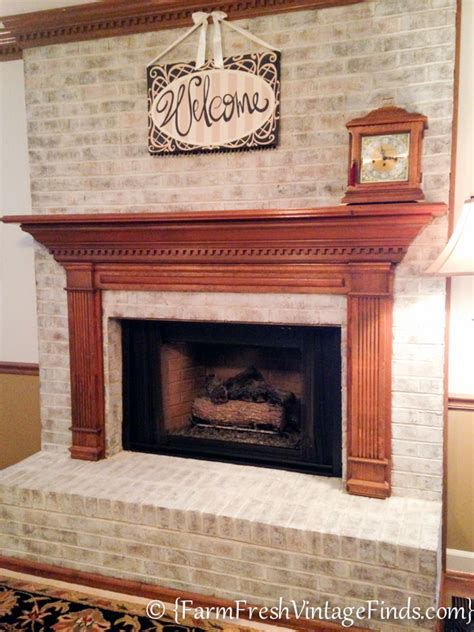 whitewash brick fireplace how to whitewash brick farm fresh vintage finds