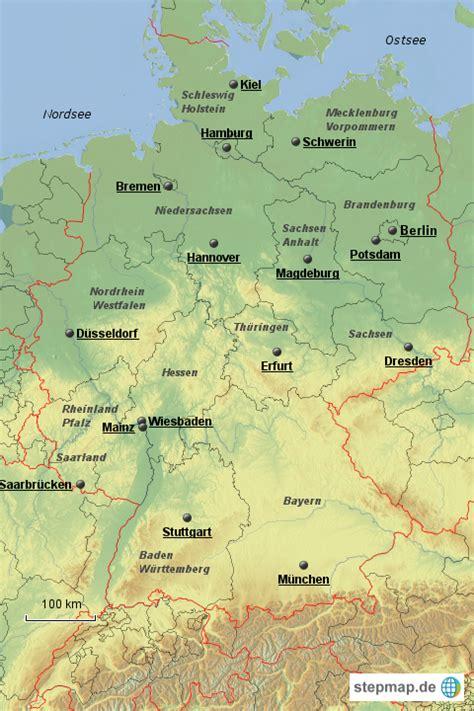 deutschland bundeslaender topografie von ratitz landkarte