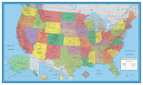 elite united states wall map poster