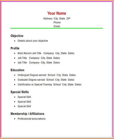 5 simple resume exles budget template letter