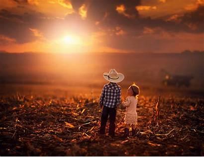 Sunset Child Nature Cowboy Landscape Countryside 4k