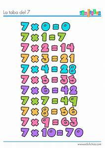 Tabla de multiplicar del 7 Fichas con las tablas de multiplicar