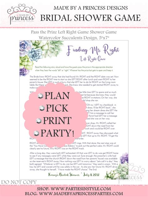 Left Right Bridal Shower by Pass The Prize Left Right Bridal Shower