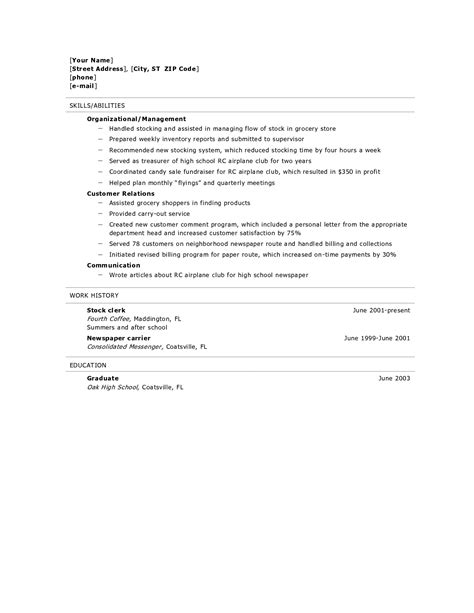 High School Graduate Resume Template by Resume For High School Graduate Resume Builder Resume