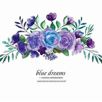 Purple Flower Watercolor Roses Clipart Violet Arrangement