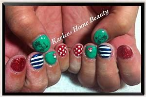 Nautical/Rockabilly themed nail art over acrylic overlay ...