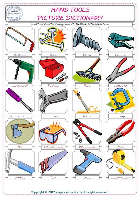 hand tools esl printable english vocabulary worksheets