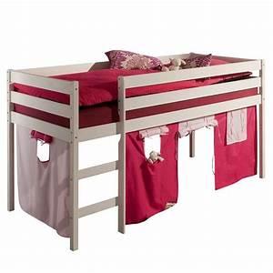 Lit En Hauteur Enfant : lit sur lev lit enfant erik 1 avec rideaux sans sommier ~ Preciouscoupons.com Idées de Décoration