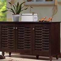 shoe organizer cabinet Shoe Storage Rack Organizer Cabinet Baxton Modern Contemporary Brown Wooden Big | eBay