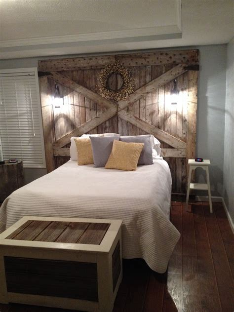 Wood Bed Frame With Headboard by Barn Wood Headboard With Lights Bedrooms In 2019 Home