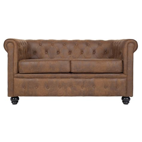 canapé chesterfield 2 places en microfibre marron westfield