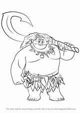 Moana Maui Draw Step Drawing Cartoon Disney Learn Film Coloring Pages Character Computer Sketches Movie Adventure Movies Drawingtutorials101 Templates Stencils sketch template