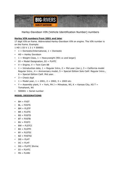 Davidson Vin Number Decoder by Harley Davidson Vin Vehicle Identification Number Numbers