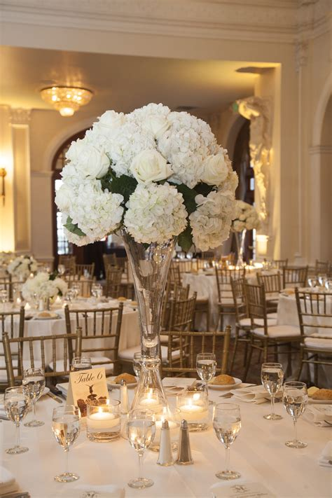 Winter Wedding At The Crystal Ballroom White Centerpiece