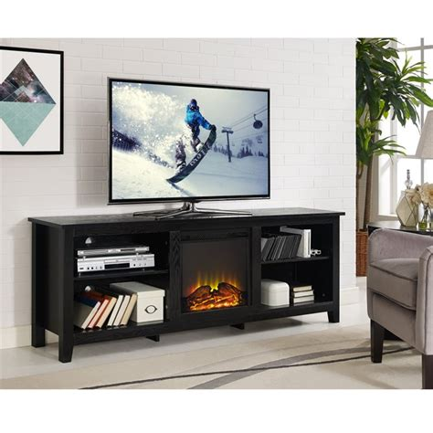 70 tv stand with fireplace walker edison 70 quot wood fireplace tv stand in black w70fp18bl