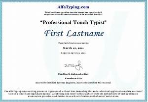 free typing certificate With typing certificate template