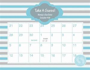 printable due date calendar baby shower game guess the With baby pool calendar template