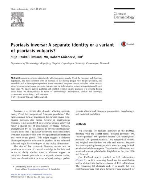 psoriasis inversa  separate identity   variant