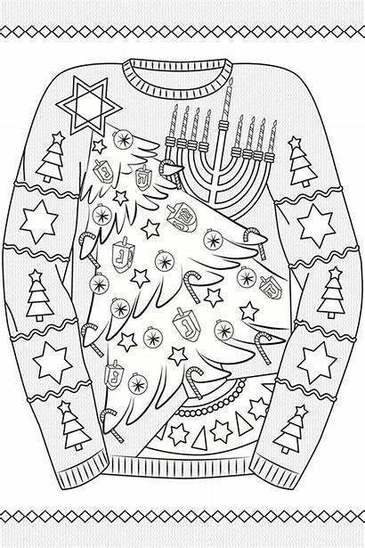 Coloring Pages Ugly Sweater Christmas Colouring Sweaters