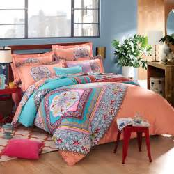 coral blue bohemian pattern bedding set for twin bed with