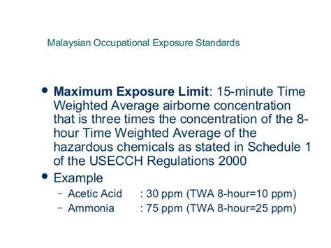 occupational health standards dosh