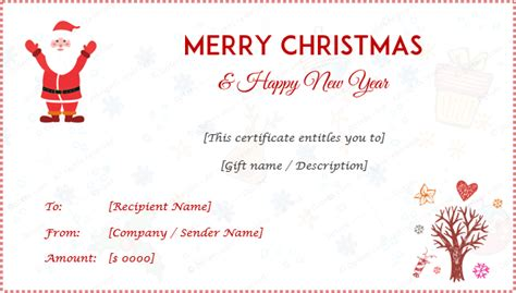 christmas gift certificate templates editable