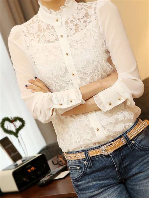 Yes please! inspiration! Schicke Damen Bluse mit Spitzen und Stehkragen - Milanoo.com | Outfits ...