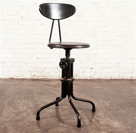 Brexton Adjustable Height Industrial Mahogany Stool With