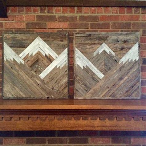 rustic mountain tops set   reclaimed wood wall art