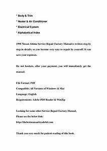 1998 Nissan Altima Service Repair Factory Manual Instant Download